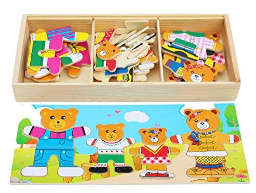 Toys of Wood Oxford Puzzle di Vestire in Legno per orsi familiari - Ordina e abbina i Pezzi del...