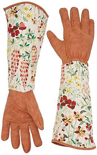 QEES Guanti da giardinaggio in pelle a prova di spine, guanti da giardino per donna con maniche...