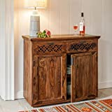 DriftingWood Solid Sheesham Wood Side Board Cabinet for Living Room | Console Table with Drawers | for Kitchen & Dining Room | Walnut Finish