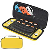 Housse de transport pour Nintendo Switch Lite - Housse de transport rigide portable avec 8 emplacements pour cartes de jeu pour Nintendo Switch Lite et accessoires jaune