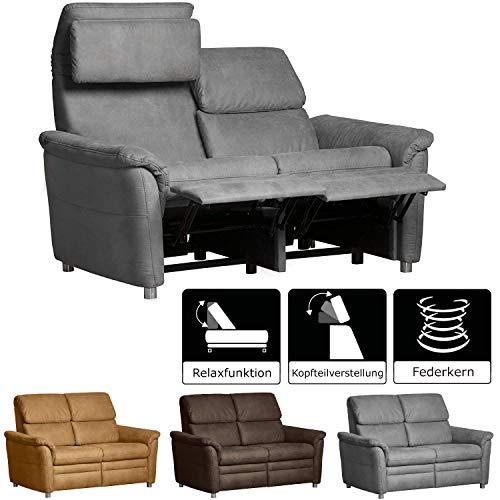 Cavadore 2-Sitzer Sofa Chalsay inkl. verstellbarem Kopfteil und Relaxfunktion/ mit Federkern / moderner 2er Kinosessel / Größe: 145 x 94 x 92 cm (BxHxT) / Farbe: Grau (argent)