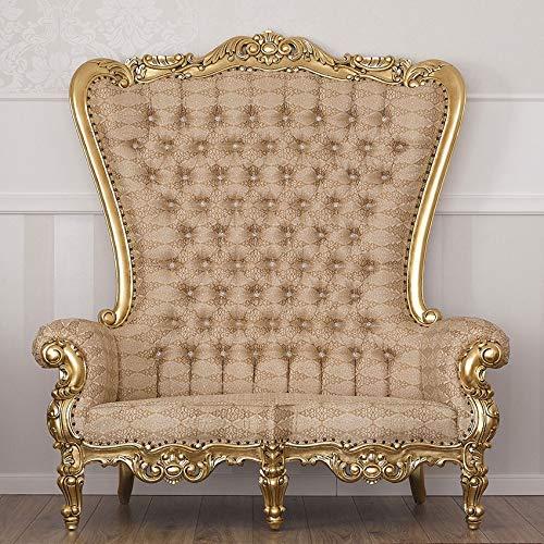 Simone Guarracino Divano Regina Stile Barocco Francese Foglia Oro Tessuto Damascato Avorio e Oro Bottoni Crystal SW