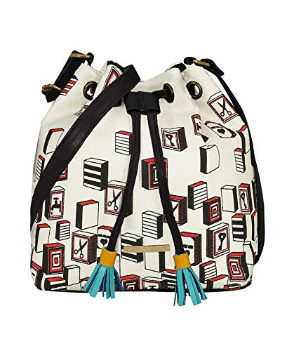 Funk For Hire Women's Faux Leather Canvas Sling Bag(White)