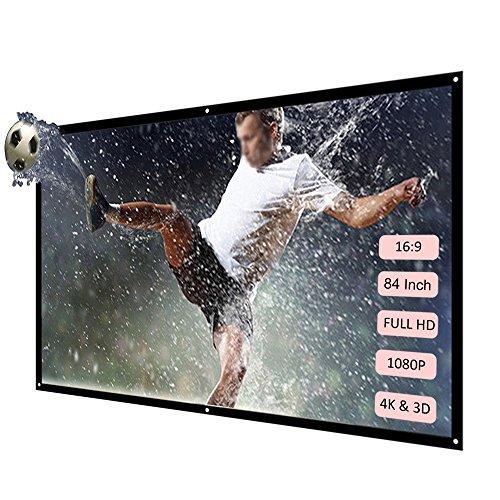 Docololer H84 84 \'\' Portabel Beamer Bildschirm HD 16: 9 Weiß 84 Zoll-Diagonale Projektions-Bildschirm faltbares Heimkino für Wand-Projektion Zuhause Draußen