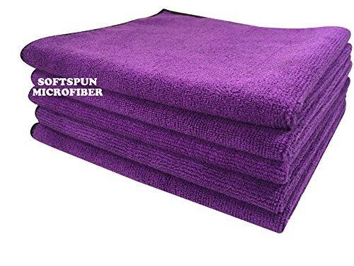 SOFTSPUN Microfiber Cloth - 5 pcs - 40x40 cms - 340 GSM Purple - Thick Lint & Streak-Free Multipurpose Cloths - Automotive Microfibre Towels for Car Bike Cleaning Polishing Washing & Detailing