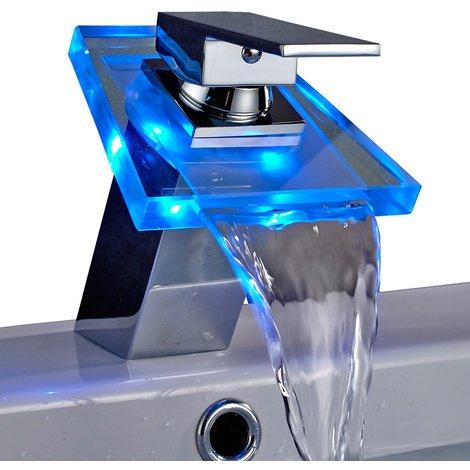 Auralum® Grifo de Lavabo Grifo Moderno Cascada Baño Cuarto de baño Cocina LED RGB Cambio Color (tres colores) Cromo Plateada Latón y Cristal Diseño Elegante