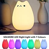 Children Night Light,SOLMORE LED Cute Silicone Cat Lamp,Kids Bedside Lights,Warm White/7-Colour Single/Color changing,USB Rechargeable,Sensitive Tap Control Fairy Light for Baby Bedroom Nursery Birthday Gift