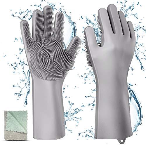 Gifort Guanti in Silicone,Dishwashing Gloves, Magico Guanti per Lavapiatti con Lavaggio Scrubber...