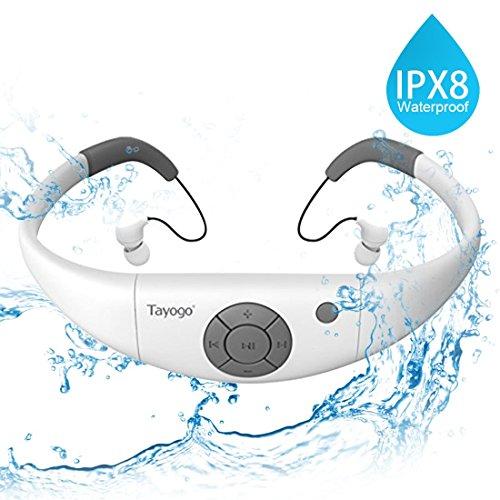 Tayogo Reproductor de MP3 IPX8 mp3 Impermeable natación, 8GB de Memoria, Permite descargar 2000 Canciones Ultra-Ligero Disco U Resistente al Calor 60 Nadar Carrera Excursionismo SPA (Blanco)