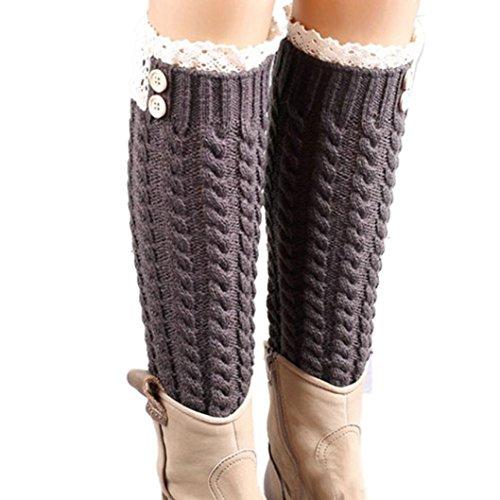 """Calcetines,RETUROM la moda de las mujeres populares """"s caliente del invierno de lana suave del cordón de la torcedura hecha punto de arranque calentadores de la pierna Calcetines (C)"""