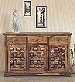Unitek Furniture Sheesham Wood Storage Sideboard Cabinet with Drawers (Natural Finish)