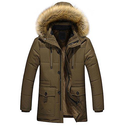 Buluke Uomo Giubbotto invernale / Casual / Cappotto imbottito con cappuccio caldo con cappuccio in tinta unita, verde, 4XL