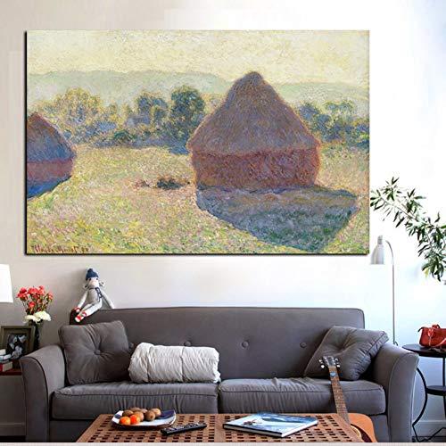 LPHMMD Quadro su Tela Winter on Morning Hay Stack Impression Landscape Pittura a Olio su Tela Stampa...