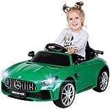 Actionbikes Motors Kinder Elektroauto Mercedes Amg GT-R - lizenziert - 2 x 25 Watt Motor - Ledersitz - Eva Reifen - Softstart - Kinderauto (Grün)
