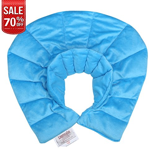 Linenwalas Heating Pad for Neck & Shoulder Pain Relief,Natural Moist Heat Pad and Cool Pad with Rice Beads Shoulder Wrap to Heal - Turquoise