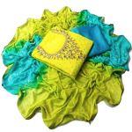 Whynot Women's Cotton Silk Handwork Dress Material (Lemon Color_ Free Size)