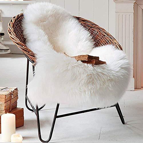 Tongfushop Pelliccia sintetica Tappeto vello di pecora 75 x 120 cm con lana spessa Tappeto, Bianco