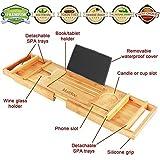 mallboo lujo bambú bañera bandeja para bañera Caddy/Organizador con extender lados y ajustable de lectura soporte/estante