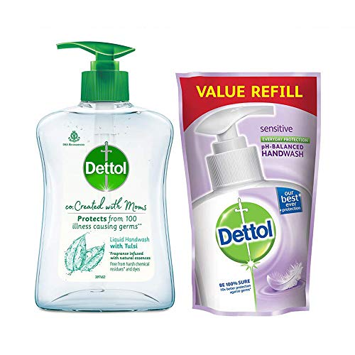 Dettol Co-created with moms Tulsi handwash Refill and Pump, 175ml+200ml