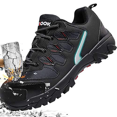 ASHION Stahlkappe Sicherheitsschuhe Herren, Industrie Handwerk Schuhe Atmungsaktiv Leichte Reflektierende Arbeitsschuhe(A-Schwarz,44 EU)