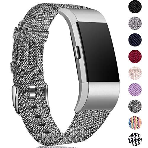 HUMENN Compatibile per Fitbit Charge 2 Cinturino, Ricambio Bracciale in Tessuto Traspirante per Fitbit Charge 2 Tracker, Piccolo Nero Grigio