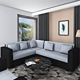 Bharat Lifestyle Cosmo Plus Fabric Black Grey L Shape Sofa (3+2+C)