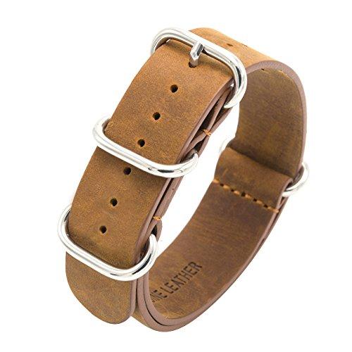 Cinturino Nato Cavallo Pazzo Cinturino Pelle 18mm 20mm 22mm Cinturini Orologi in Vera Pelle Zulu Militare Premium con Fibbia in Acciaio Inossidabile (22mm, Marrone)