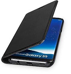 Kaufen WIIUKA Echt Ledertasche -Travel- für Samsung Galaxy S9 mit Kartenfach, Extra Dünn, Tasche Schwarz Premium Design Leder Hülle