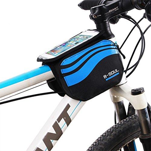 zjchao Bolsa Bicicleta Frontal 2-Lados alforja Delantera Bolsa de Manillar de 5.8 Pulgadas Móvil PVC Transparente Impermeable Bolso para MTB Bicicletas de montaña