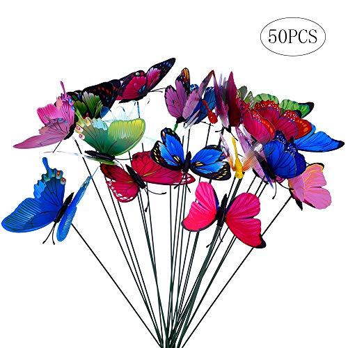 50 mariposas coloridas para jardín, diseño de libélulas en palos para decoración de plantas, patio al aire libre, decoración de jardín, 50pcs