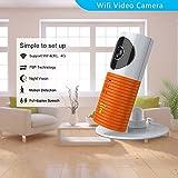 Clever dog Telecamere wifi di sicurezza wireless Smart Telecamera di sicurezza di sorveglianza con P2P, visione notturna, registrazione video, audio a due vie, rilevamento del movimento(Orange)