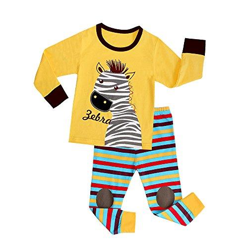 Attraco-Kinder-Unisex-Schlafanzug-Zebra-Hai-Fuball-Motiv-Zweiteilig-Streifen-Pyjama-Lang