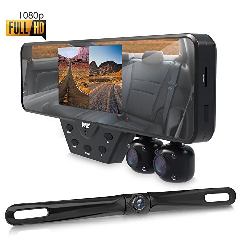 Pyle Newest Technology HD 3 Camera Dash Cam Rearview Mirror Backup Camera Mirror Cam Front and Rear Recording Video Recording System Hd Camera Record Kit
