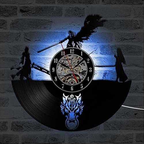 TREES Wanduhr Vinyl Aufzeichnung Uhr Final Fantasy 7 Abenteuer Anime Schwarz Antiquität Stil LED Wanduhr Raumdekortion