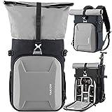 TARION Kamerarucksack Wasserdicht Fotoruckack Kameratasche Unisex mit 15,6 Zoll Laptopfach & Regenschutzhülle DSLR Rucksack für Sony Canon Nikon Silber