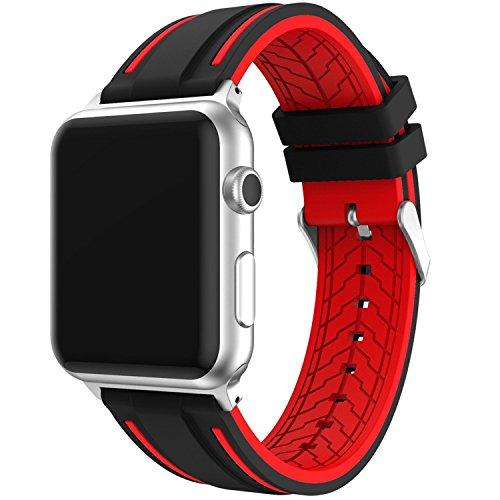 IvyLife Compatibile per Apple Watch 42mm Serie 1 2 3 Cinturino di Ricambio in Silicone Morbido Banda Bracciale Sportivo (Rosso)