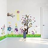 Walplus DF5099 Paquete combo de animales felices más WS3026, búho, árbol, estrella, más AY763 adhesivo mural de polluelo, hierba, multicolor