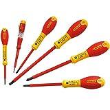 STANLEY 0-65-443 - Pack con 6 destornilladores aislados, mango bimateria, color rojo y amarillo