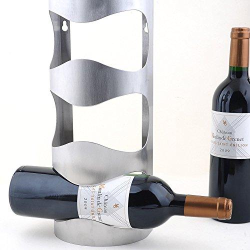 Eleoption Acciaio Inox Cantinetta Porta Bottiglie di Vino Supporto da Parete 2Taglia a Scelta,...