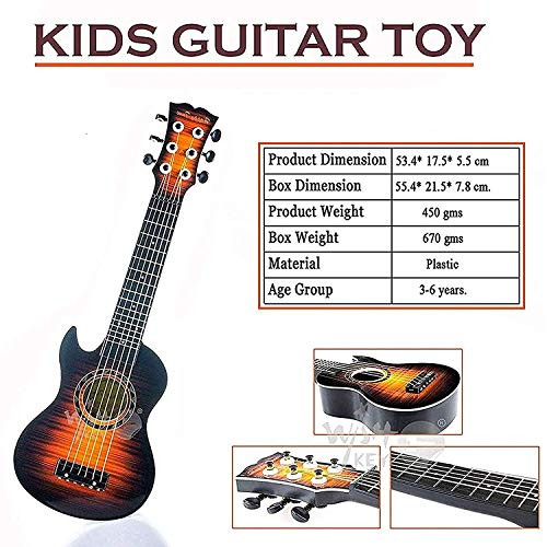 Wishkey Guitar Toys for Kids with Pick 21 inch (Brown)