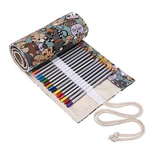 Btsky tela matita colorata roll Wrap 72slot-colorazione portamatite organizer per 72matite...
