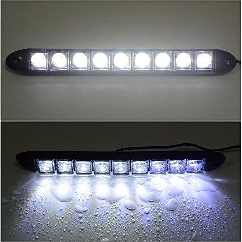 2x 9 Led Impermeabile Luci Diurne Daylight Running Light 12v LED DRL dell'automobile Luce Bianca MA136