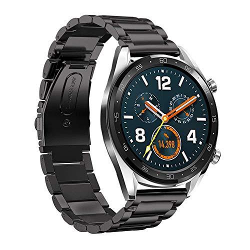 SPGUARD Compatibile con Cinturino Huawei Watch GT, Cinturino di Ricambio Regolabile in Acciaio Inossidabile da 22 mm per Huawei Watch GT/Active-Nero