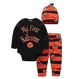 BOBORA Infant Baby Halloween Pumpkin Costume My 1st Halloween 3PCs Outfits Jumpsuit For Kids