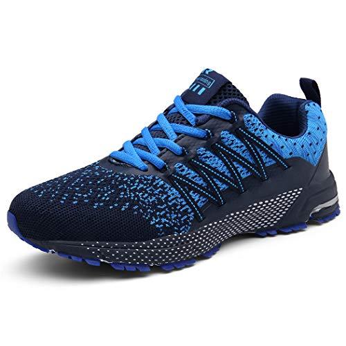 SOLLOMENSI Laufschuhe Damen Herren Sportschuhe Straßenlaufschuhe Sneaker Joggingschuhe Turnschuhe Walkingschuhe Schuhe 40 EU A Blau