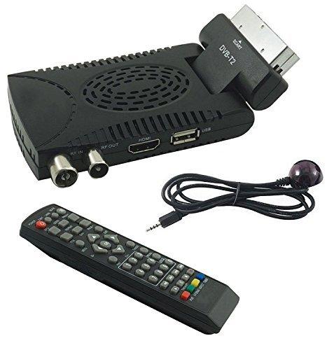 B-black Decoder Digitale Terrestre Hd Mini Dvb T2 Usb Hdmi Presa Scart 180° Televisione
