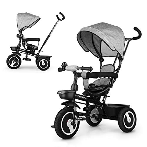 Fascol Triciclo per Bambini, 7 in 1 Triciclo Passeggino con Maniglione e Tettuccio Triciclo con Sedile Girevole Adatto per età 12 Mesi - 5 Anni, Grigio