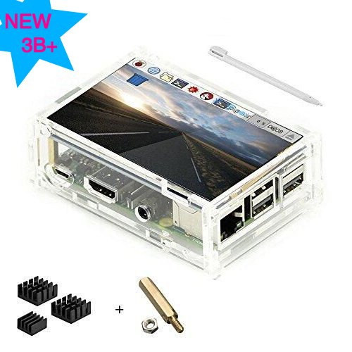 Display LCD TFT da 3.5 pollici Touch Screen con custodia protettiva in acrilico per Raspberry Pi 3 B + [3 x Dissipatore in alluminio, CD con sistema di installazione, Touch Pen]