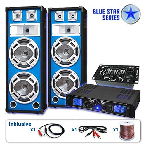 DJ Blue Star set di casse 'Basskern USB' 2800 Watt Casse Amplificatore Microfoni