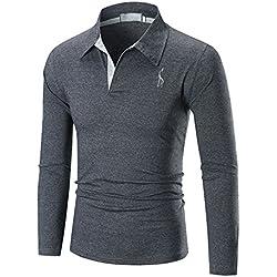 3bace593cf5 YCHENG Hombre Polo Manga Larga Moda Lujo Jirafa Bordado Contraste Collar Golf  Camiseta (xx-
